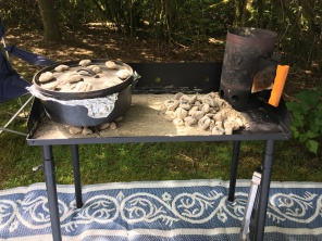 The new dutch oven table and baking biscuits.