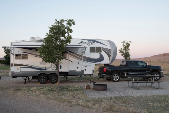 Photo of our beach house, the Arctic Fox 5th wheel at Bruneau Dunes State Park, ID