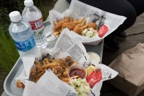 Photo of our fish and clams lunch on the Coos Bay Boardwalk