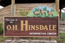 Photo of the Hinsdale Interpretive Center sign at the Dean Creek elk viewing area in Oregon