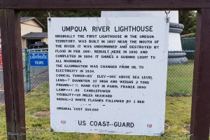A photo of a sign giving a brief history of the Umpqua Lighthouse
