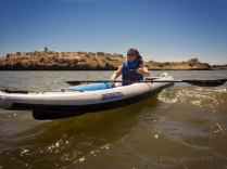 Woman kayaking on the Columbia River