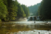 Photo of fly fishing at the base of Lewis River Lower Falls
