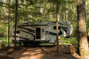Photo of a 5th wheel trailer at Lower Falls Campground