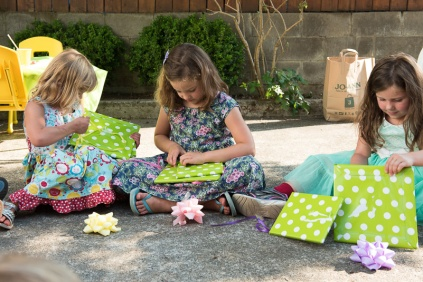 photo of girls opening gifts