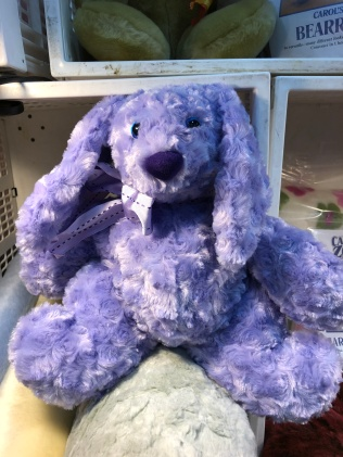 Photo of rabbit made from purple rose cuddle fabric.