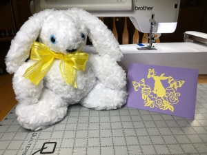 Photo of Easter bunny and card created with Silhouette Cameo.