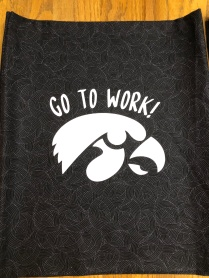 Photo of Gymhawk bag on a fun cotton print.