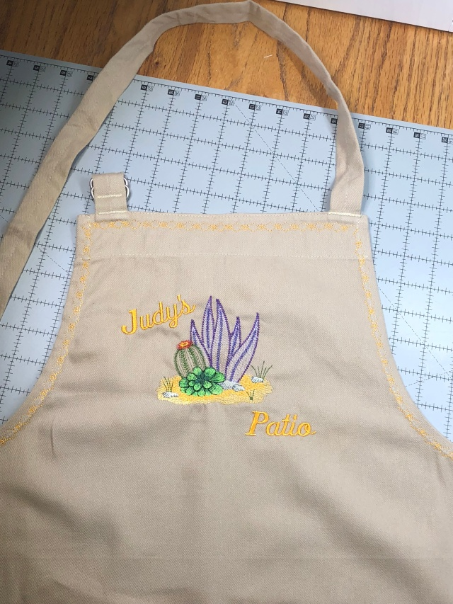 Photo of desert embroidered apron