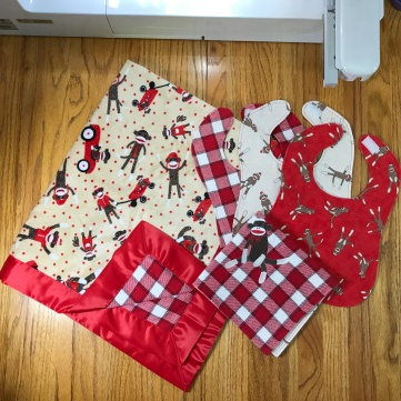 sock monkey baby shower set