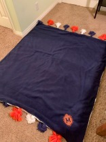 Pauline's Photography Navy fleece side of finished blanket throw.