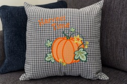 Pauline's Photography Embroidered harvest time pumpkin pillow