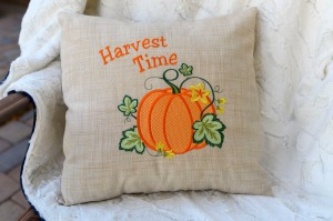 Machine Embroidered Harvest Time Pillow