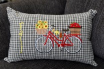Pauline's Photography Fall red bike pillow