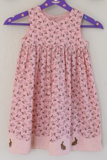 Little girls pink rabbit dress