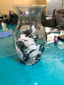 Pauline's Photography DIY vase covered in black, gray, and white nail polish